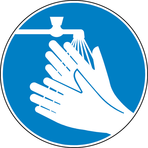 Illustration of person washing hands in sink