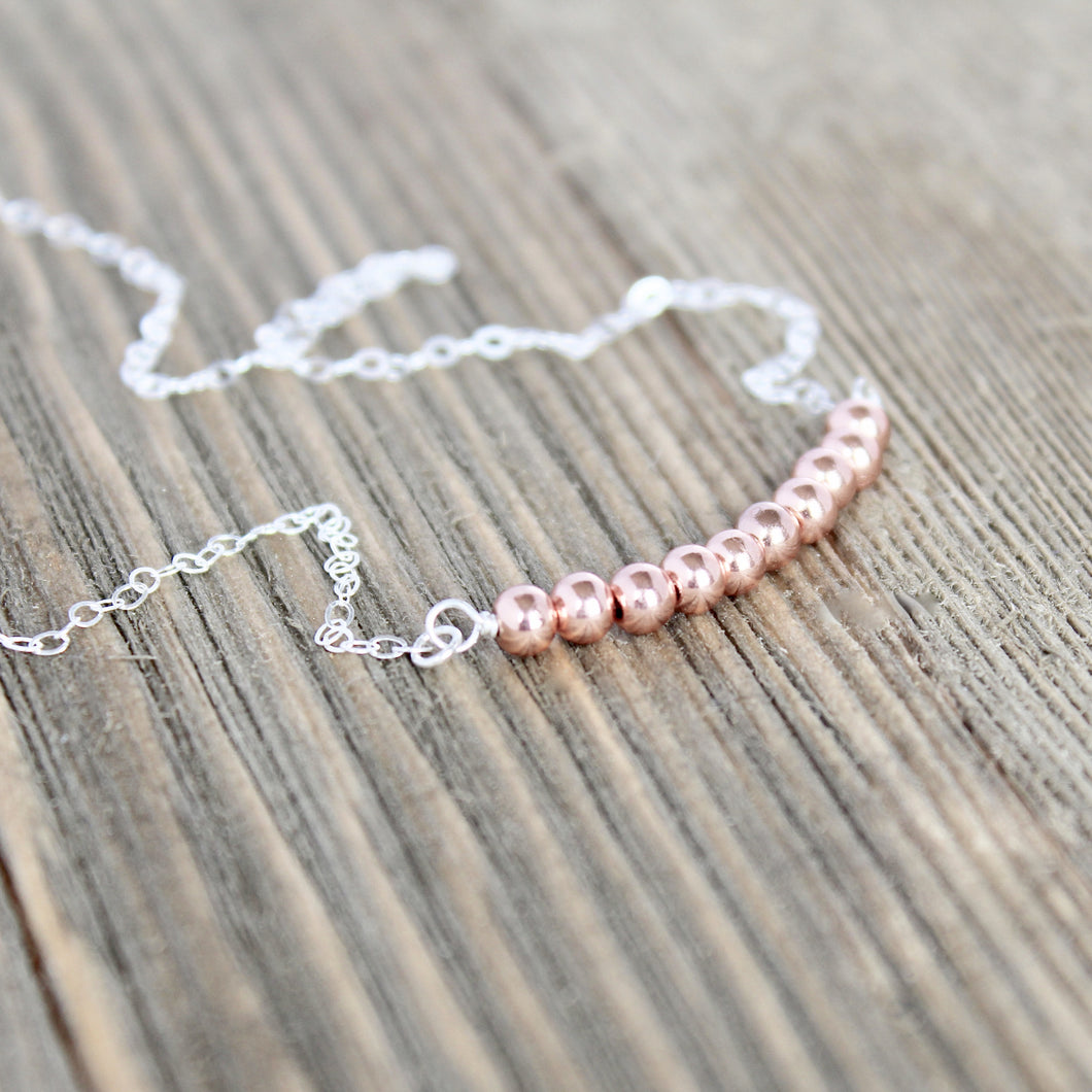 Copper Beaded Bar Necklace