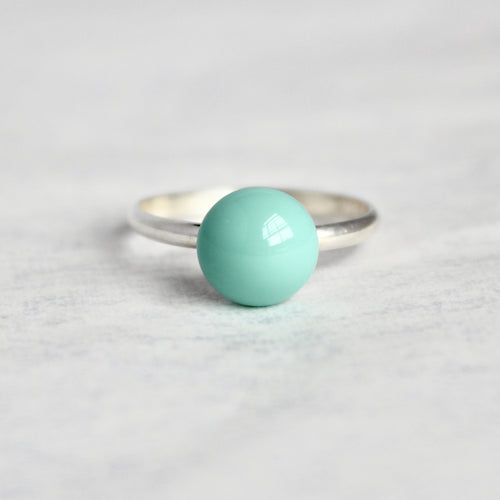 Mint Blue Czech Glass Ring