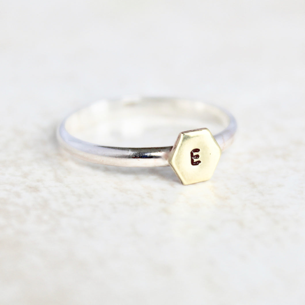 Personalized Hexagon Ring