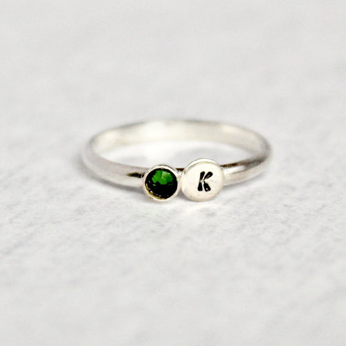 Initial & Birthstone Ring