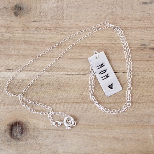 Mom Vertical Bar Necklace
