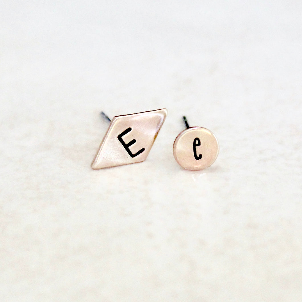 Mismatched Initial Earrings - Round & Diamond