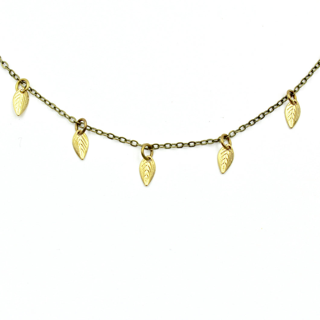 Sprinkle Necklace - Brass Leaf