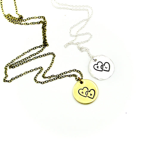Personalized Necklace - Double Heart