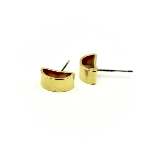 Half Moon Earrings - Brass