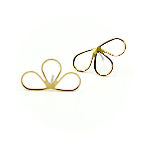 Half Flower Earrings - Brass