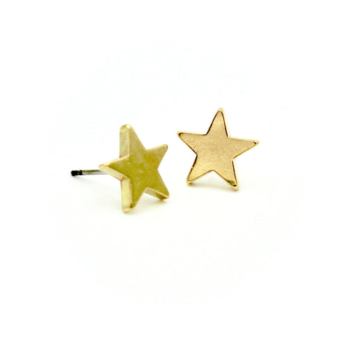 Star Earrings - Brass