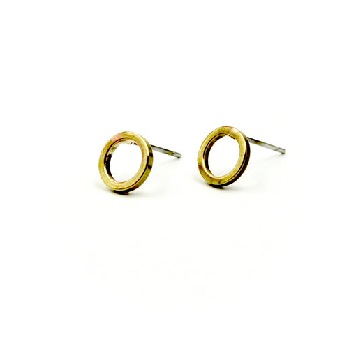 Open Circle Earrings - Brass