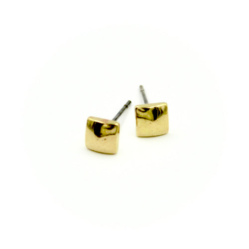 Puffy Square Earrings - Brass