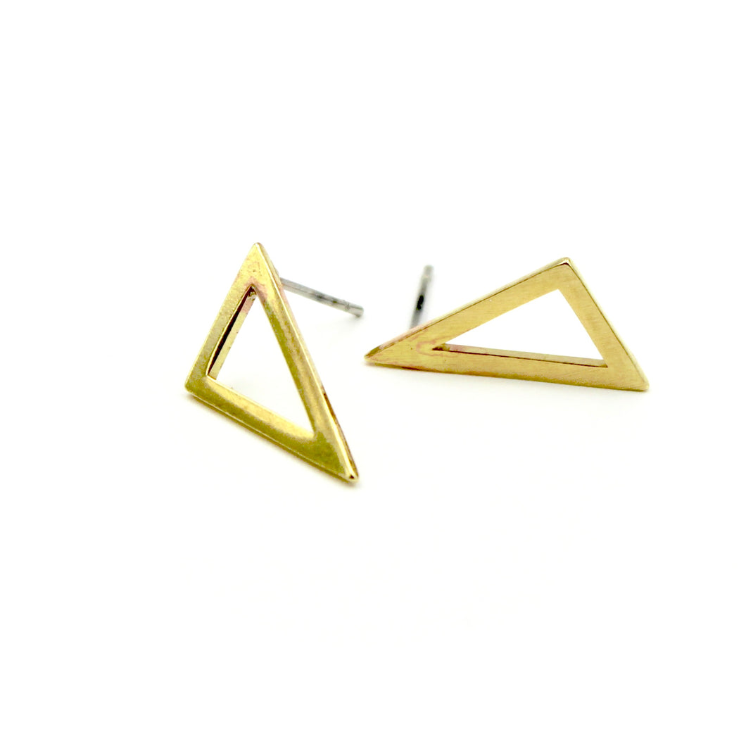 Angled Triangle Earrings - Brass