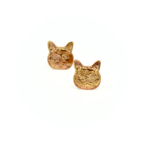Cat Earrings - Brass