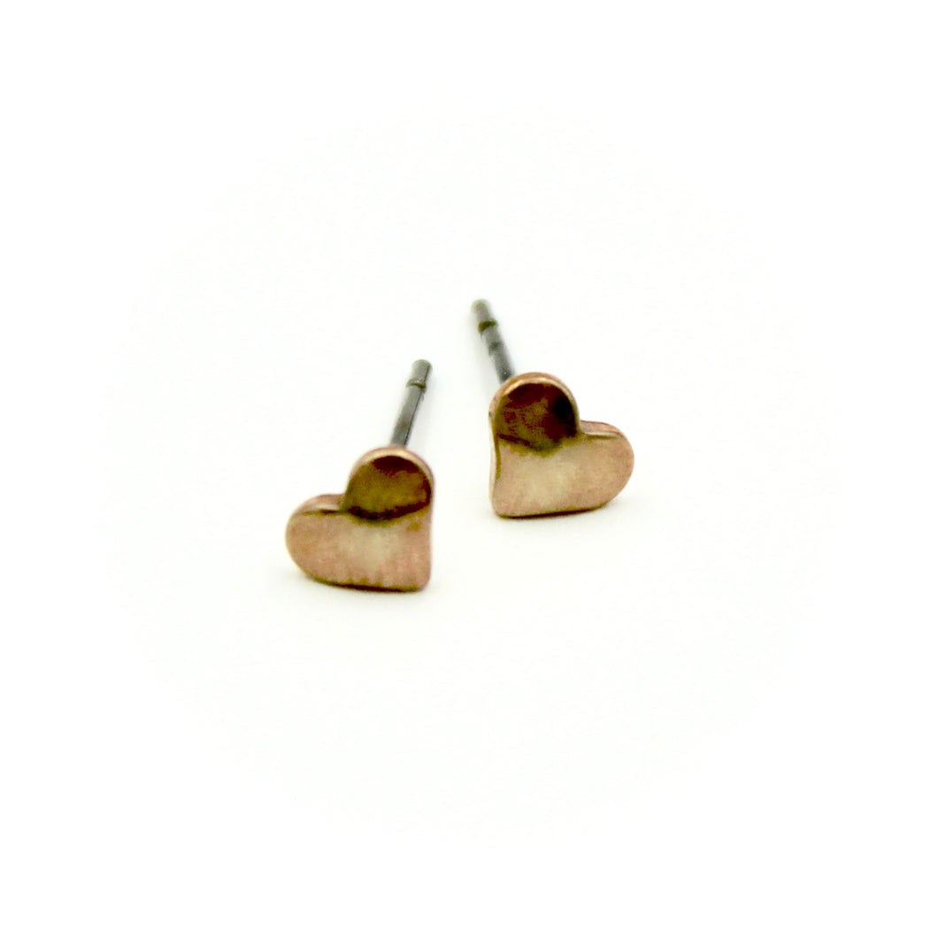 Puffy Heart Earrings - Brass