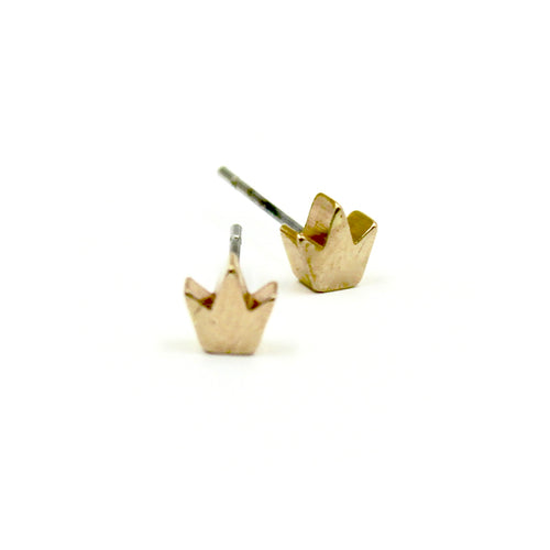 Crown Earrings - Brass