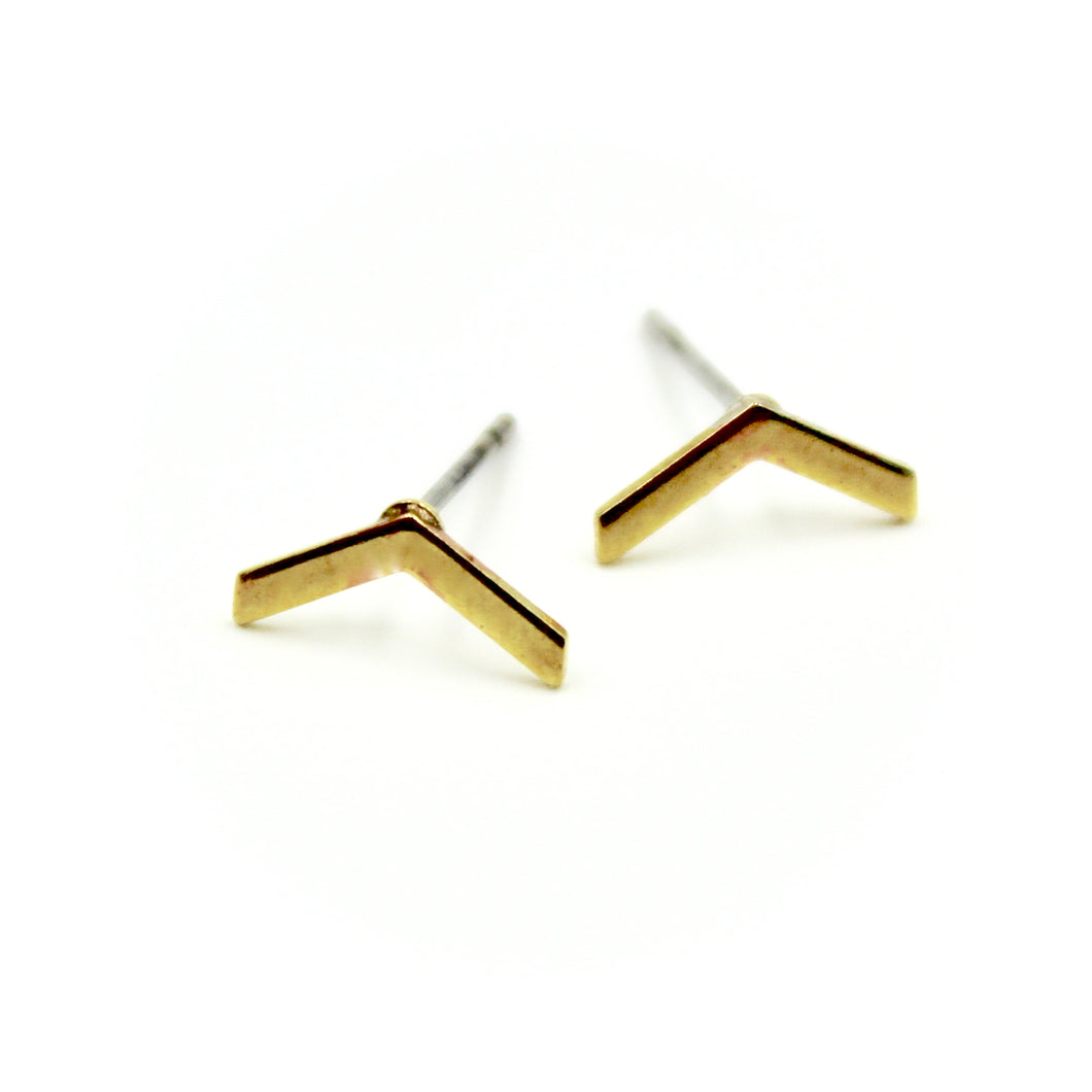 Chevron Earrings - Brass