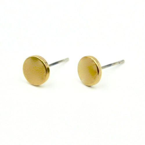 Flat Dot Earrings - Brass