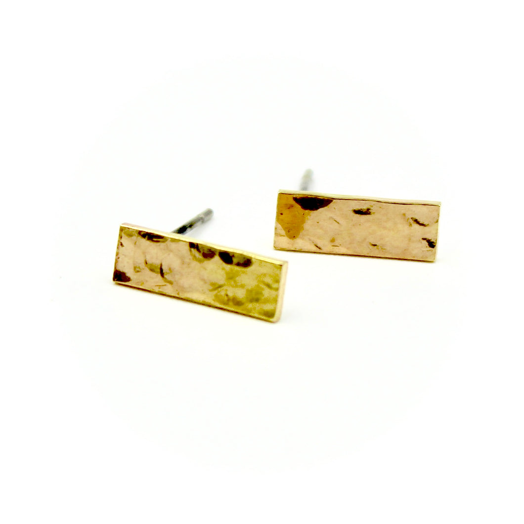 Hammered Rectangle Earrings - Brass