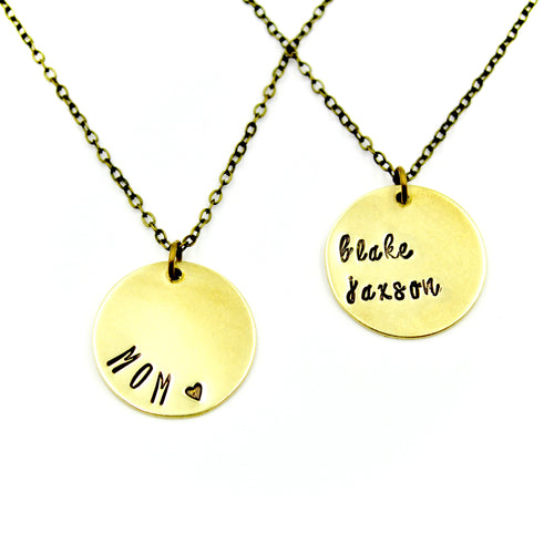 Personalized Necklace - Round Brass