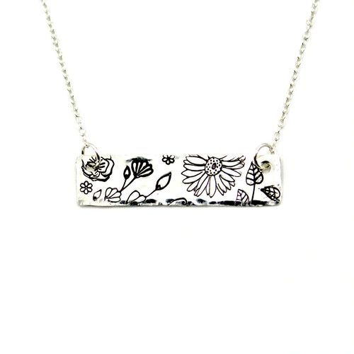 Floral Bar Necklace - Sterling Silver