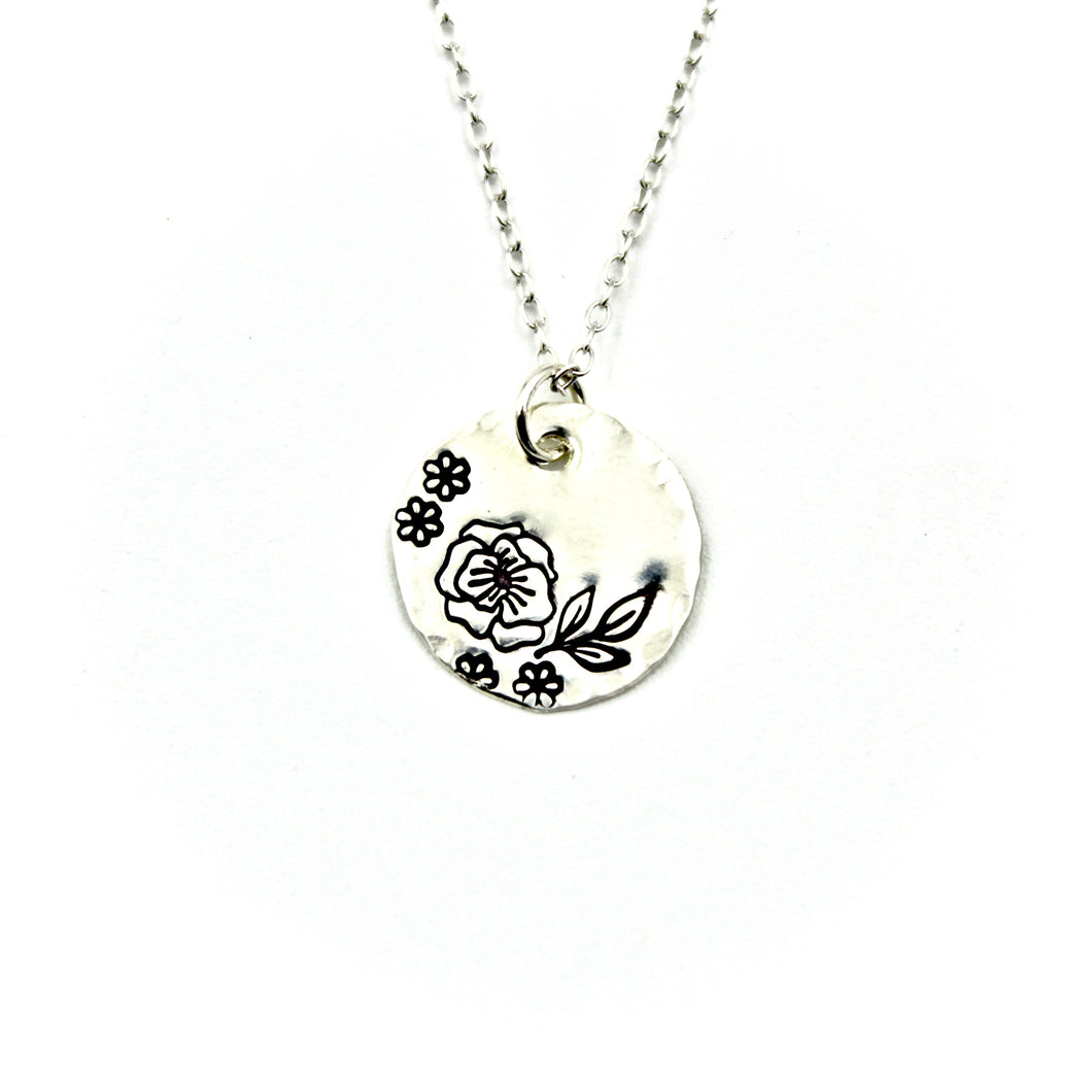 Flower Border Necklace - Sterling Silver