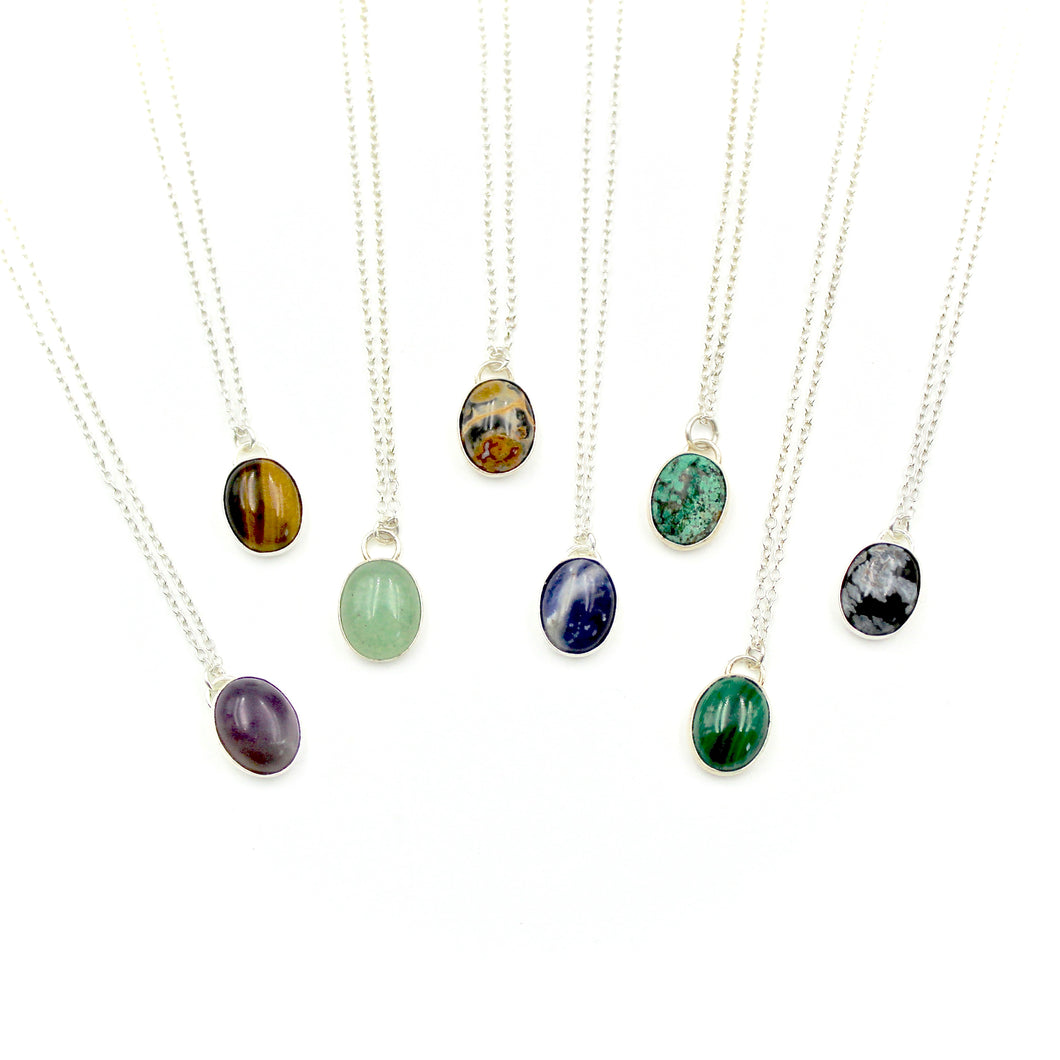 Gemstone & Sterling Silver Necklace