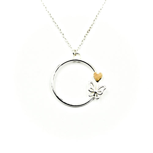 Butterfly & Heart Circle Necklace