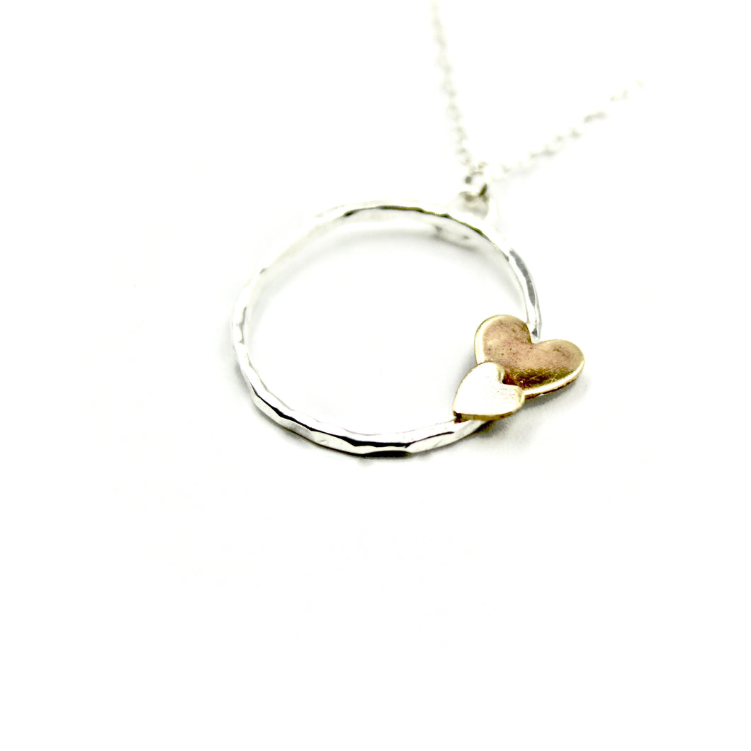 Double Heart Circle Necklace