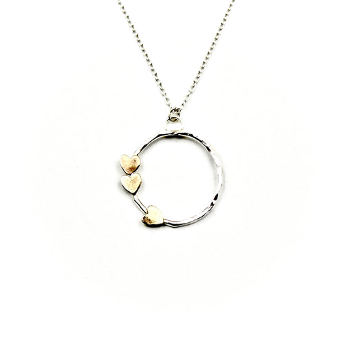 Triple Heart Circle Necklace