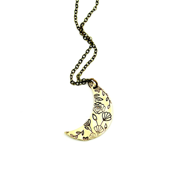 Floral Moon Necklace - Brass 1