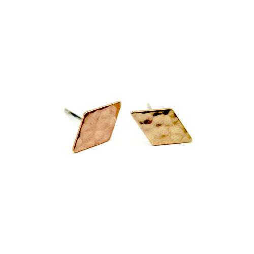 Hammered Rhombus Earrings - Brass