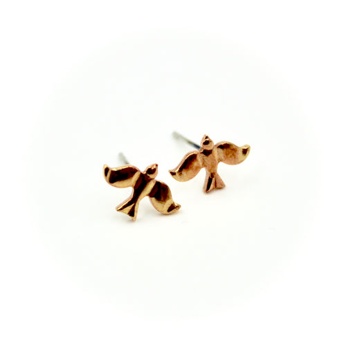 Bird Earrings - Brass