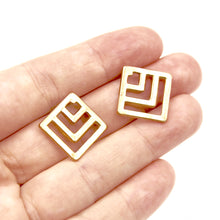 Square Chevron Earrings - Brass