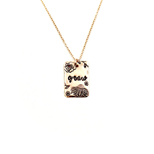 Grow Rectangle Rose Gold-Filled Necklace