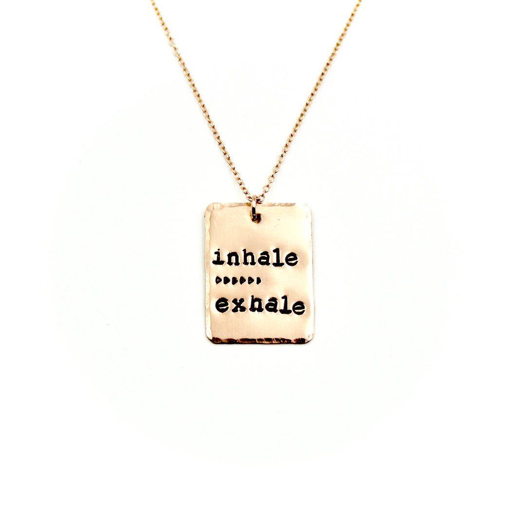 Inhale Exhale Rectangle Rose Gold-Filled Necklace