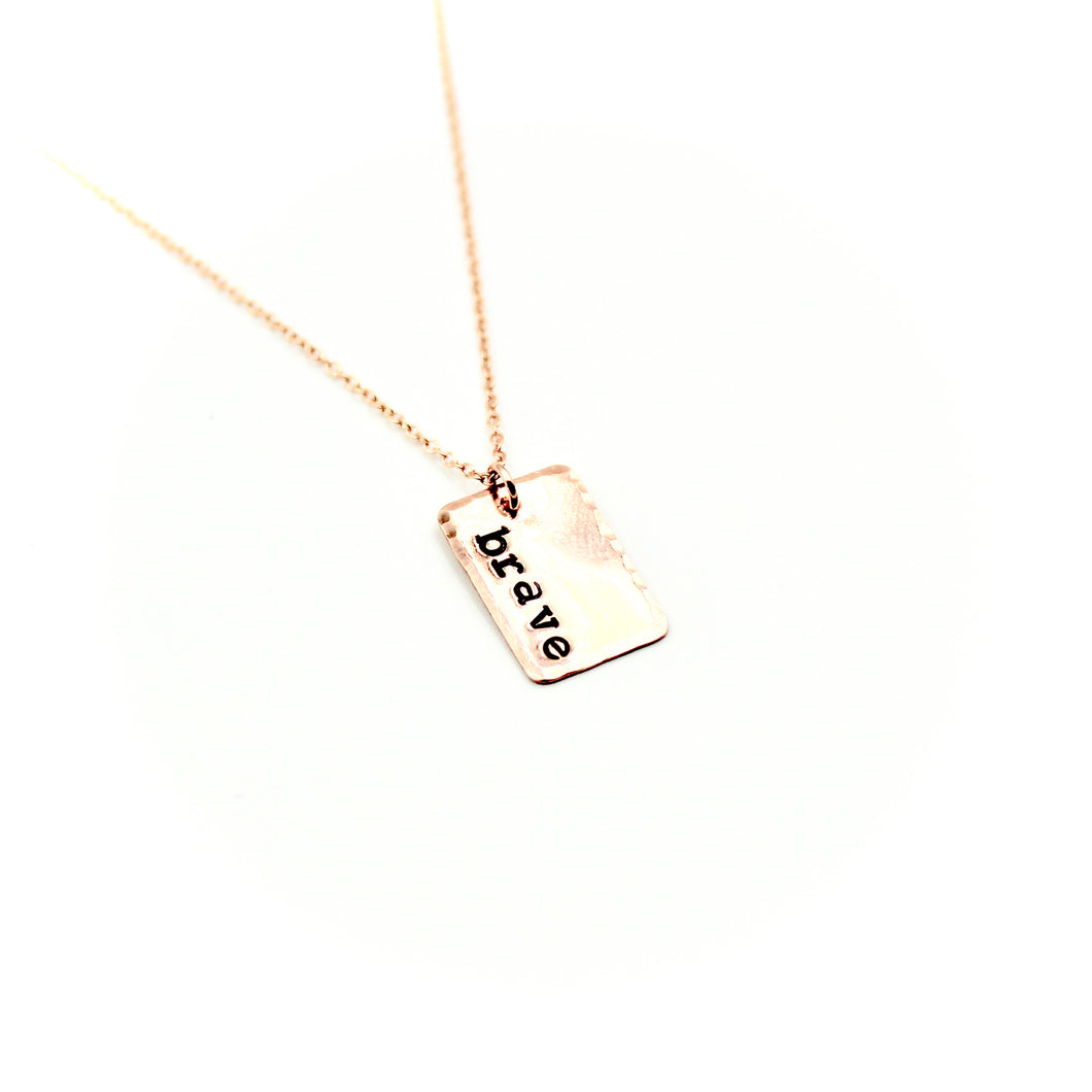 Brave Rectangle Rose Gold-Filled Necklace