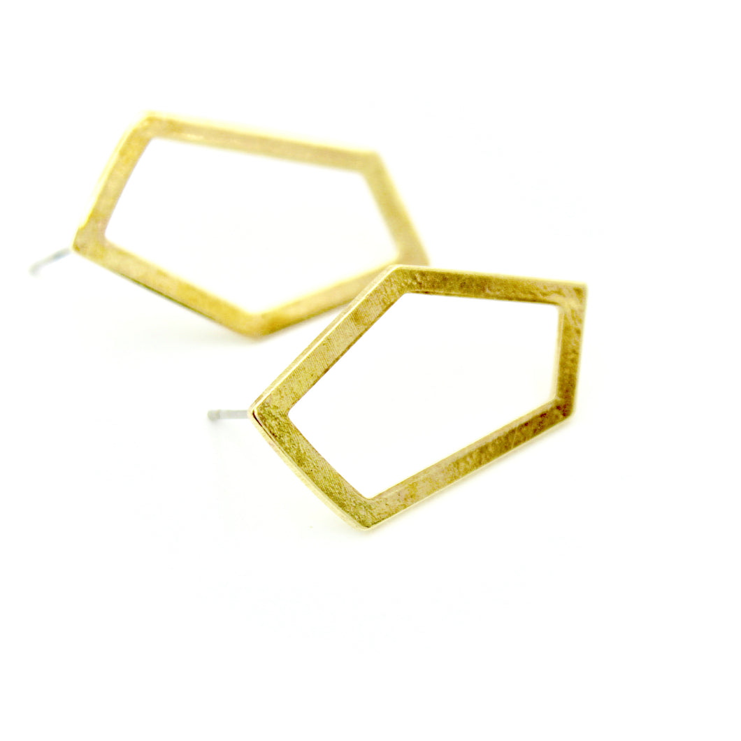 Open Geometric Earrings - Brass