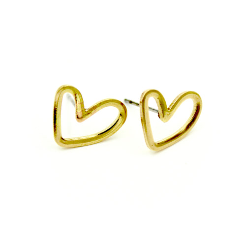 Open Heart Earrings - Brass