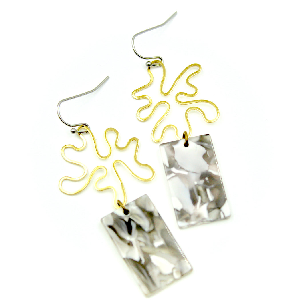 Gray & White Splatter Earrings