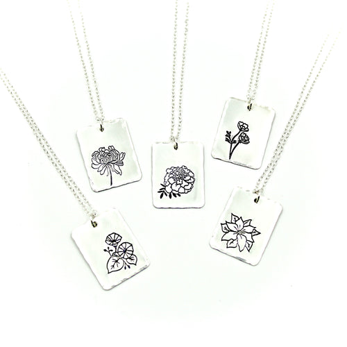 Birth Flower Necklace - Sterling Silver
