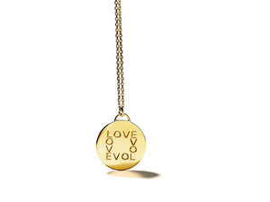 KSR Solid 18k Gold Round Love Medallion Necklace, Thin