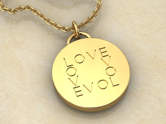 KSR Solid 18k Gold Round Love Medallion Necklace, Substantial