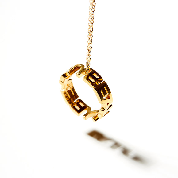 KSR Silver Covered in 18k Gold Defining Words