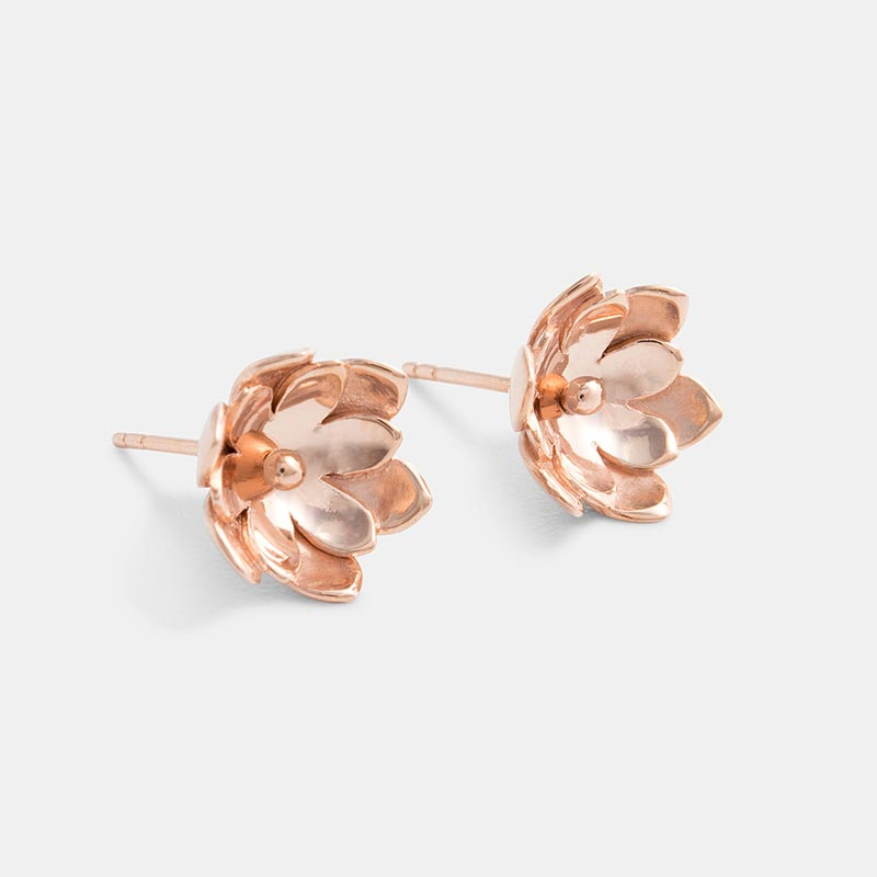 Rose gold double tulip earrings in our online jewelry store.