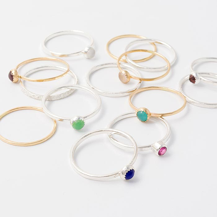 Gold, sterling silver and gemstone stacking rings in our USA online store.