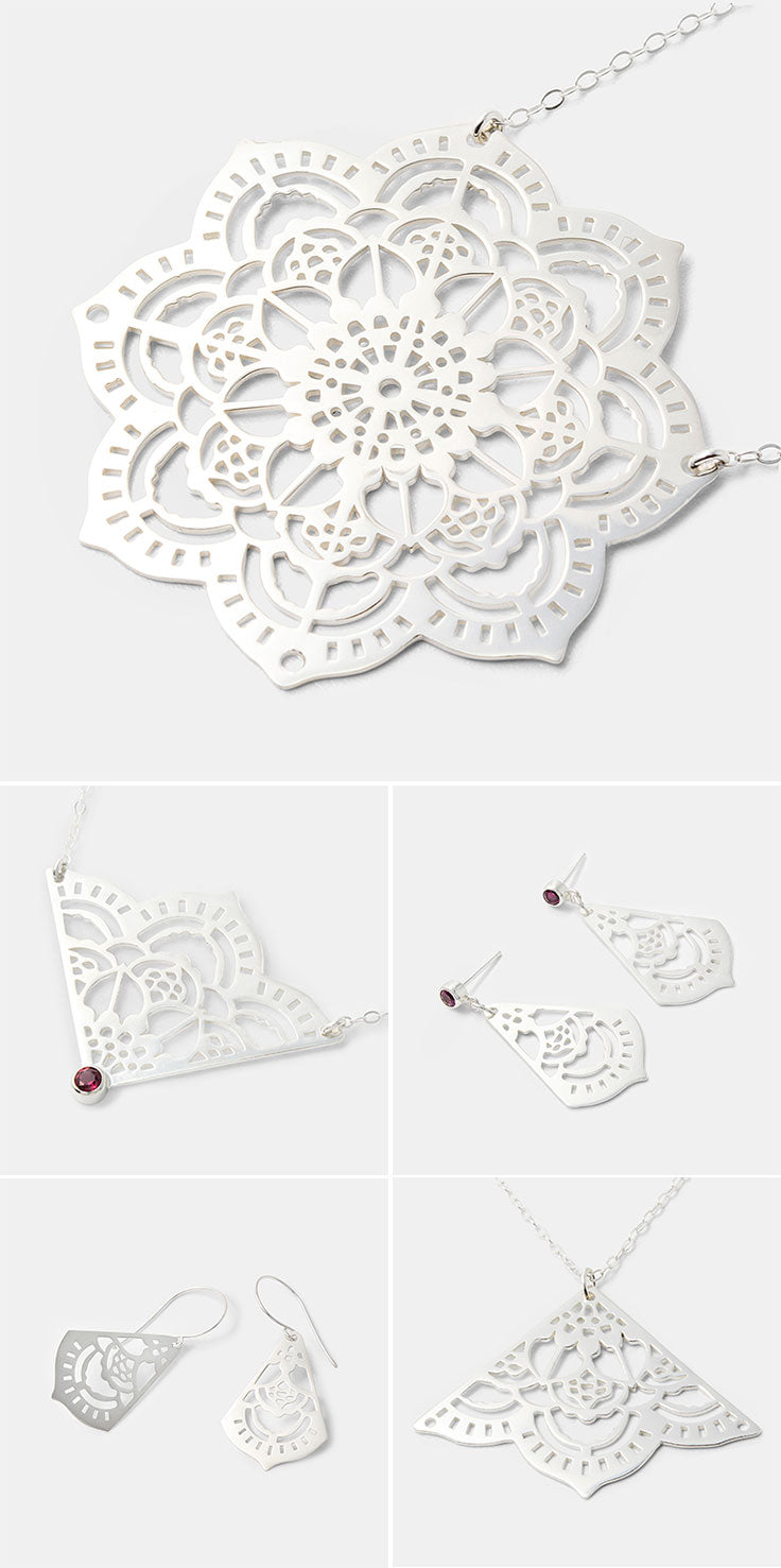 Mehndi mandala jewelry handmade in sterling silver. Shop online.