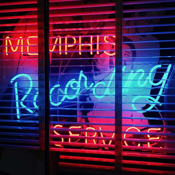 Memphis Recording Service neon sign at Sun Studio.