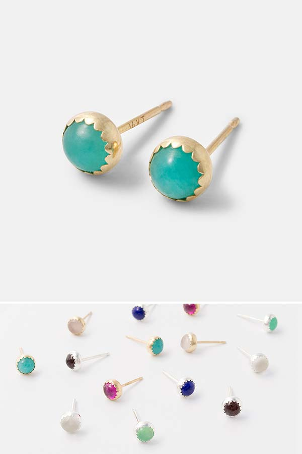 Amazonite gemstone stud earrings handmade in solid gold. Handmade jewelry online store.