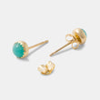Solid gold and gemstone earrings with amazonite in our handmade designer jewelry store online.