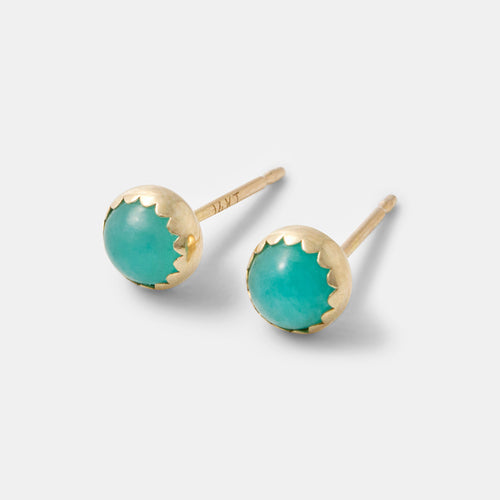 Gemstone and solid gold earrings with amazonite by handmade jewelry designer Simone Walsh.