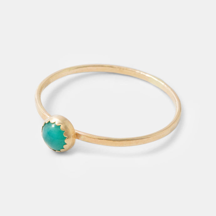 Solid gold stacking ring with an amazonite gemstone setting. Handmade by Australian jewellery designer Simone Walsh. Shop in our jewellery online store.
